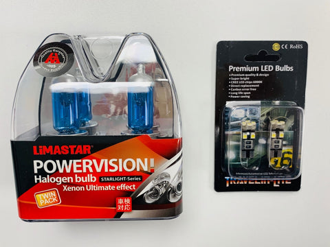 T6 H4 Headlight Bulbs (super white) & LED Side Light Bulbs