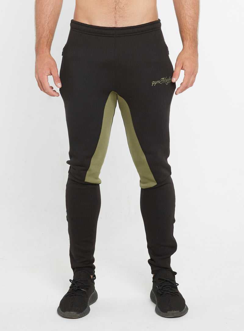 Gym Monkee - Black and Khaki Joggers FRONT