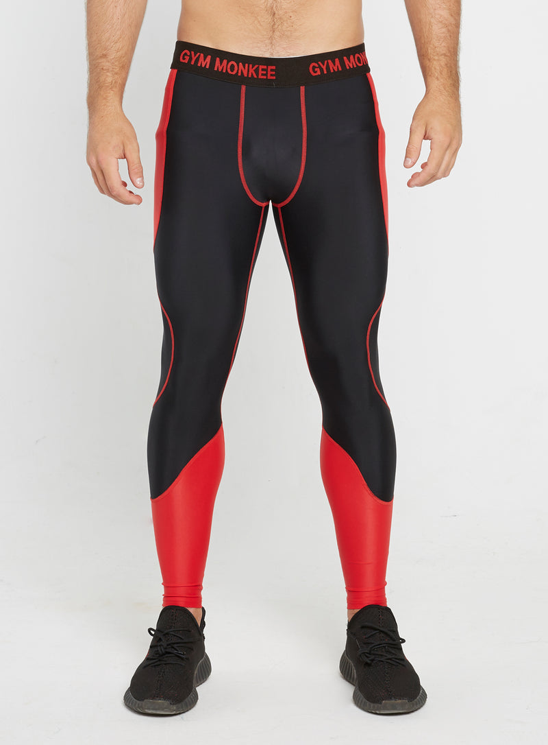 Gym Monkee - Black and Red Leggings FRONT