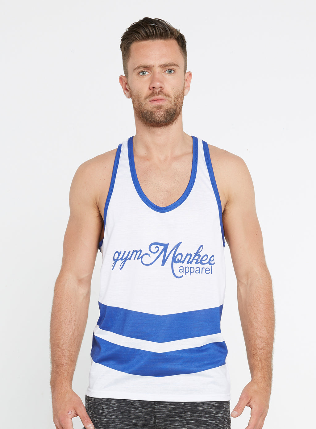 Gym Monkee - Blue and White Sublimated Vest FRONT