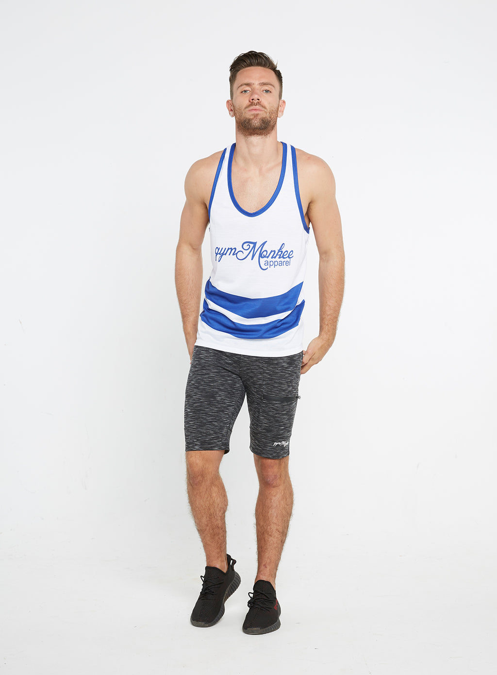 Gym Monkee - Blue and White Sublimated Vest MOVING