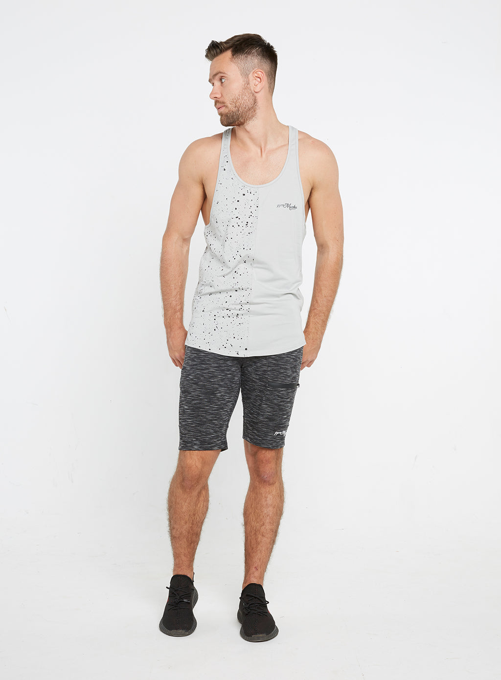 Gym Monkee - Grey Speckled Vest FRONT FULL