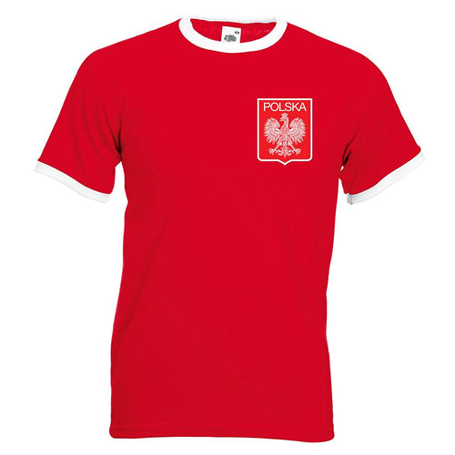 Adults Poland Polska Embroidered Retro Football T-Shirt with Free Personalisation.