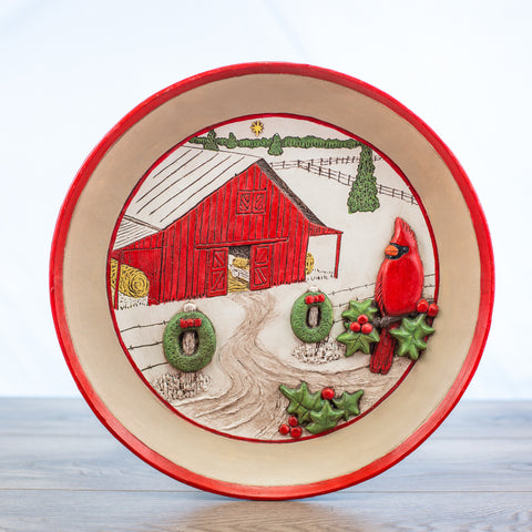 Comfort Bowl with Barn and Cardinal