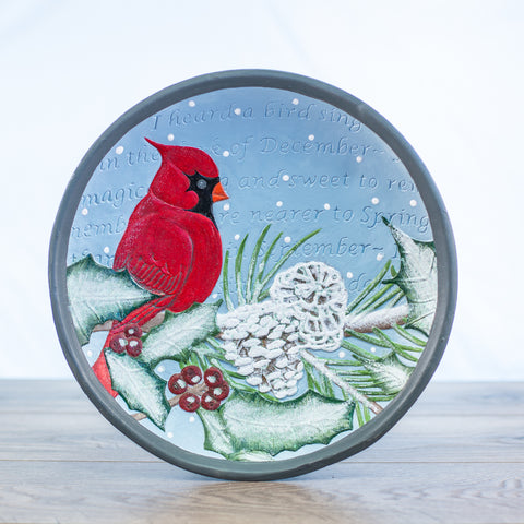 Comfort Bowl with Cardinal on a Snow Covered Branch