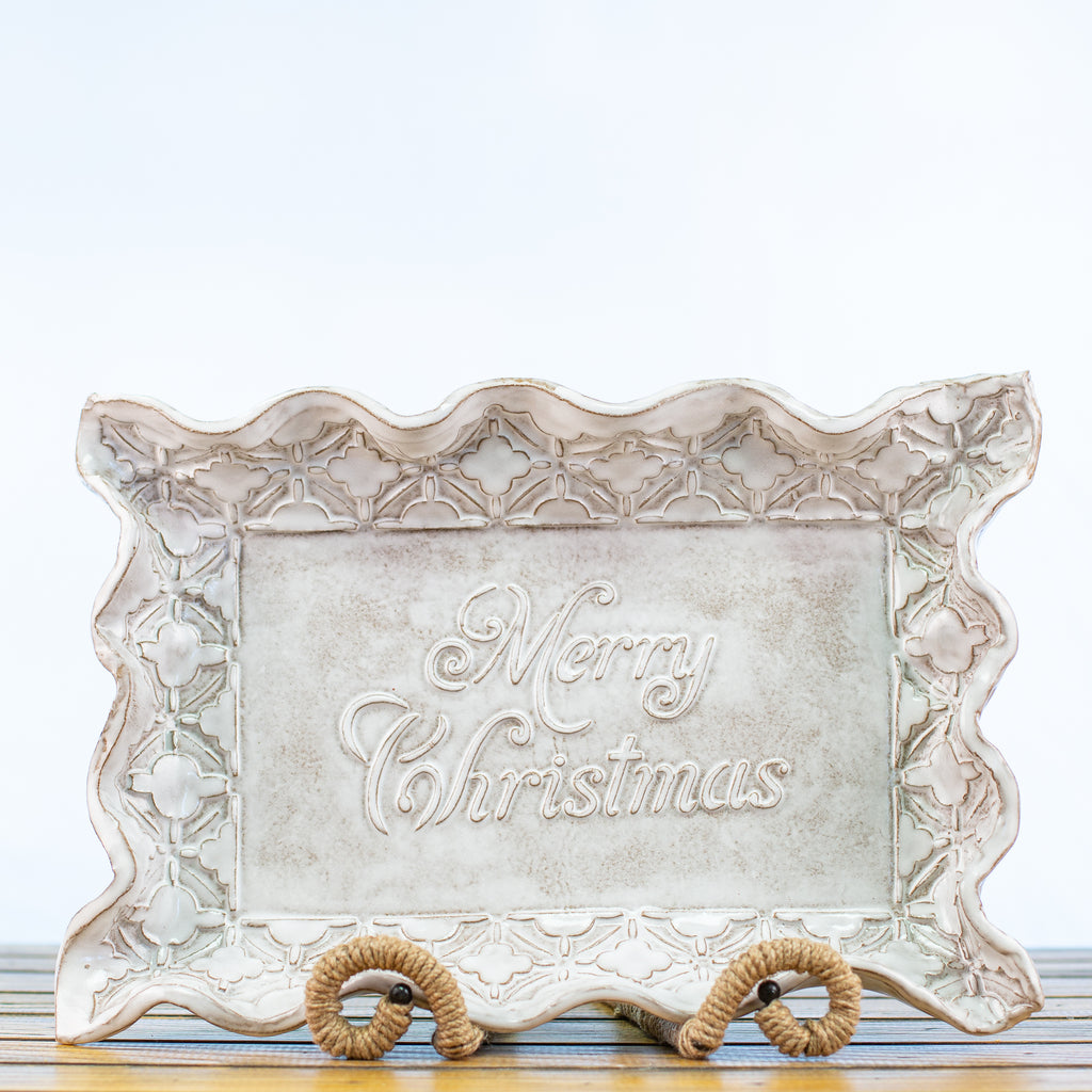 Ceramic Glazed Platter with Merry Christmas in White