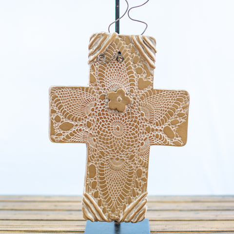 Brown Stonecast Cross with Doily