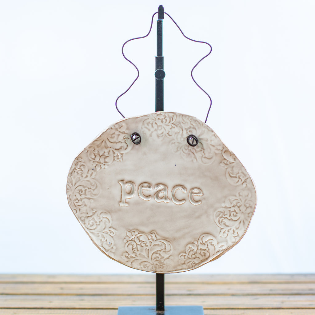 Medium White Hangable Stonecast Plaque with Peace