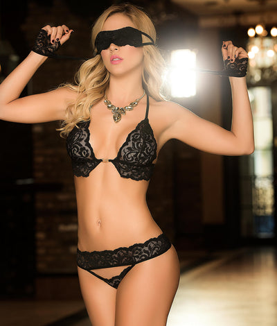 Lace Wireless Bra Set in Black