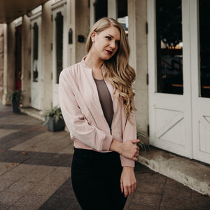 The Kylie Pink Bomber Jacket - alma boutique