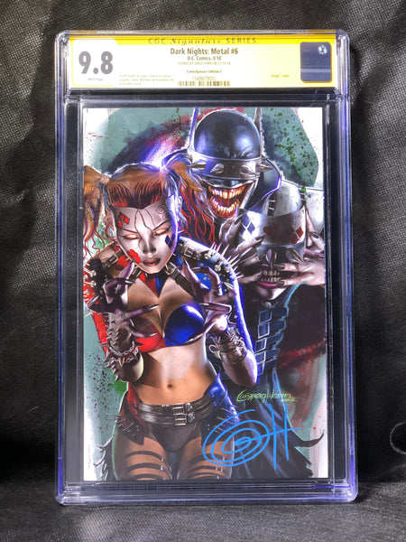 Dark Night Metal # 6 C Cover  ComicXposure Signed by Greg Horn  CGC 9.8 SS
