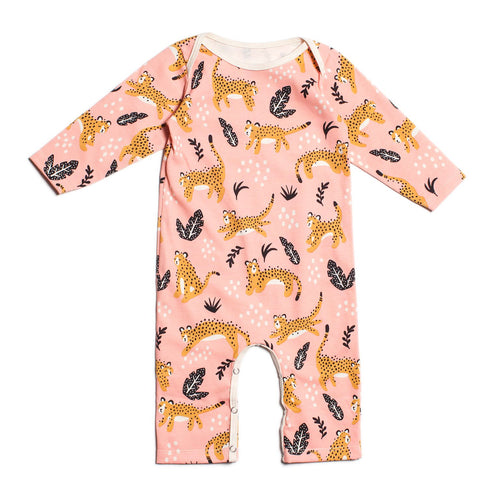 Winter Water Factory Long-Sleeve Romper, Wildcats Blush Pink