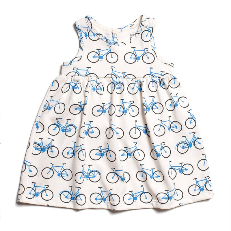 Winter Water Factory Oslo Baby Dress, Bicycles Blue