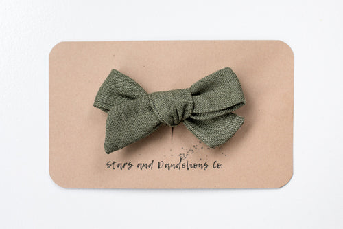 Stars and Dandelions Josie Small Bow/Pig Tail or Baby Headband, Green