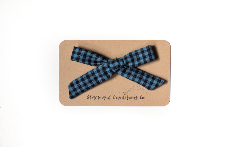 Stars and Dandelions Lauren Schoolgirl Bow, Carolina Gingham Indigo