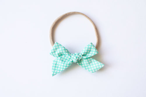 Stars and Dandelions Baby Bow, Vintage Aqua Dots
