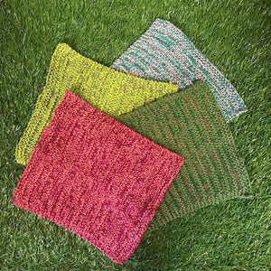 100% Cotton Knitted Dish Cloths - 2 Pack