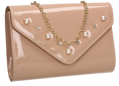 SWANKYSWANS Callie Clutch Bag Beige Cute Cheap Clutch Bag For Weddings School and Work