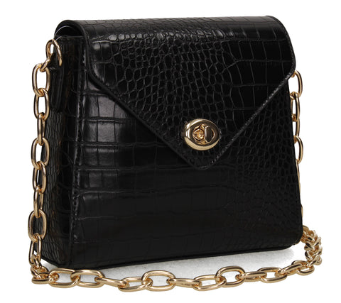 Carrie Faux Leather Croc Skin Effect Crossbody Clutch Bag Black