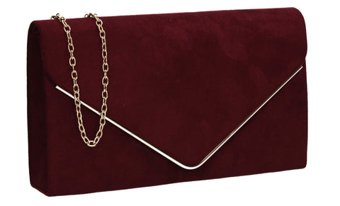 Oscar Faux Suede Envelope Clutch Bag Burgundy
