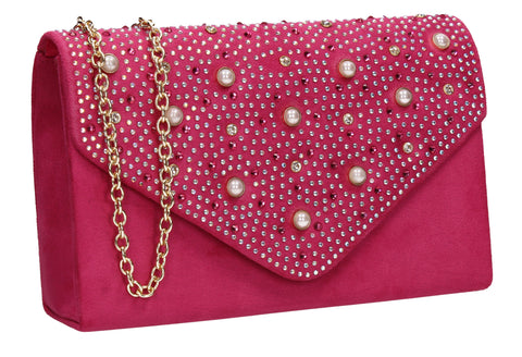 SWANKYSWANS Laurel Clutch Bag Fuchsia Cute Cheap Clutch Bag For Weddings School and Work