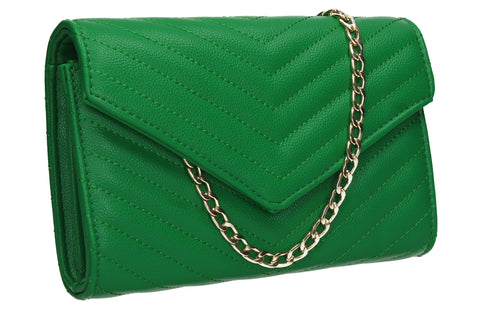 Jessa Faux Leather V shape Clutch Bag Green