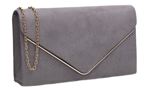 Oscar Faux Suede Envelope Clutch Bag Grey