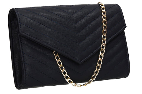 Jessa Faux Leather V shape Clutch Bag Navy Blue