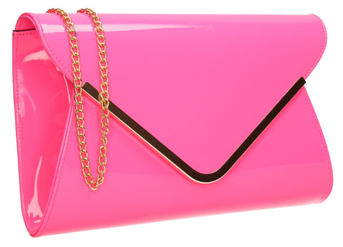SWANKYSWANS Billie Envelope Clutch Bag Neon Fuschia Cute Cheap Clutch Bag For Weddings School and Work