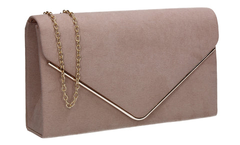 Oscar Faux Suede Envelope Clutch Bag Beige