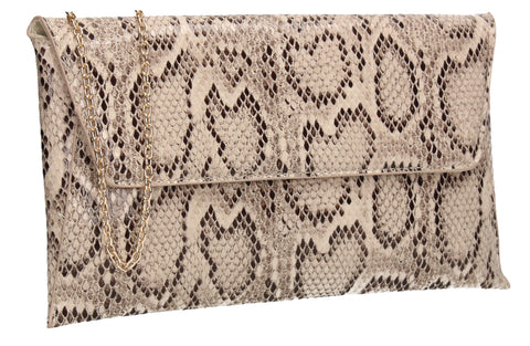 Karla Faux Snakeskin Effect Flapover Clutch Bag Nude
