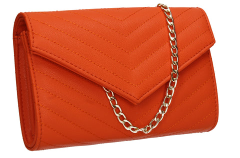 Jessa Faux Leather V shape Clutch Bag Scarlet
