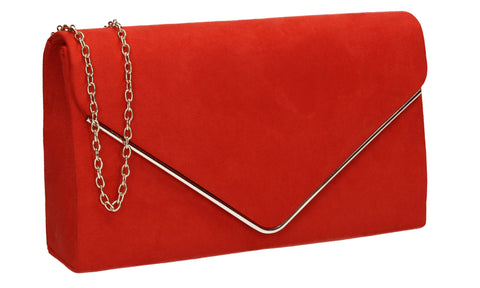 Oscar Faux Suede Envelope Clutch Bag Scarlet