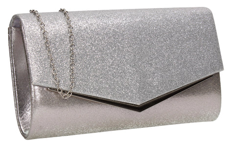SWANKYSWANS Janey Clutch Bag Silver Cute Cheap Clutch Bag For Weddings School and Work