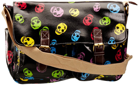 Swanky Swans Alex Funky Skull Double Pocket Satchel Black Perfect for Back to school!