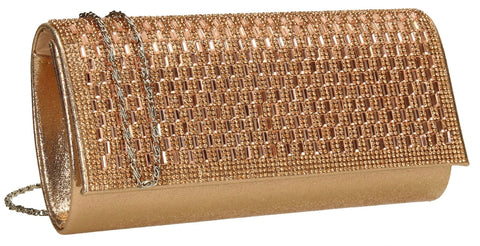 SWANKYSWANS Aria Diamante Clutch Bag Rose Gold Cute Cheap Clutch Bag For Weddings School and Work