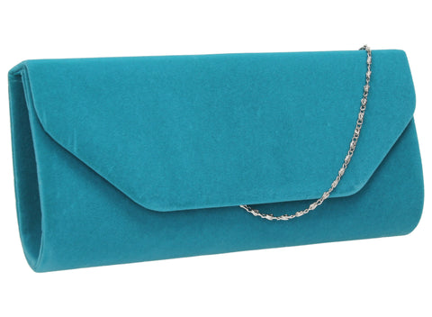 SWANKYSWANS Isabella Velvet Clutch Bag Light Blue Cute Cheap Clutch Bag For Weddings School and Work