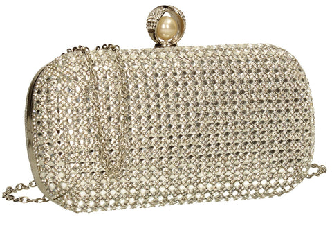 SWANKYSWANS Elsie Diamante Clutch Bag Silver