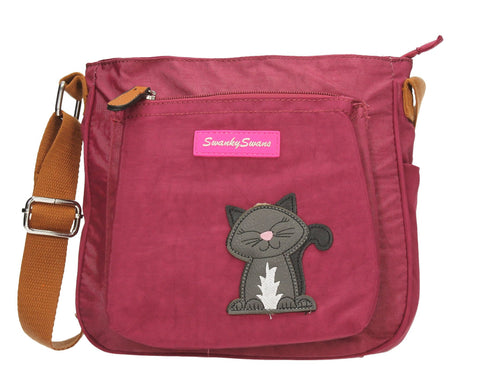 Swanky Swans Emmy Crossbody with Cat Motif Marsala MarsalaWomens Girls Boys School Crossbody Animal Cute