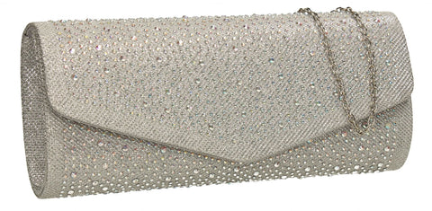 SWANKYSWANS Esther Glitter Diamante Clutch Bag Silver