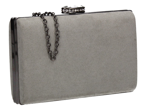 SWANKYSWANS Surrey Suede Clutch Bag Pale Grey Cute Cheap Clutch Bag For Weddings School and Work