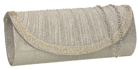 SWANKYSWANS Harman Glitter Diamante Clutch Bag Silver