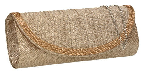 SWANKYSWANS Harman Glitter Diamante Clutch Bag Champagne