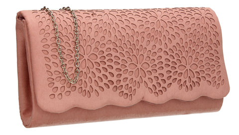 SWANKYSWANS Allison Suede Clutch Bag Pink Cute Cheap Clutch Bag For Weddings School and Work
