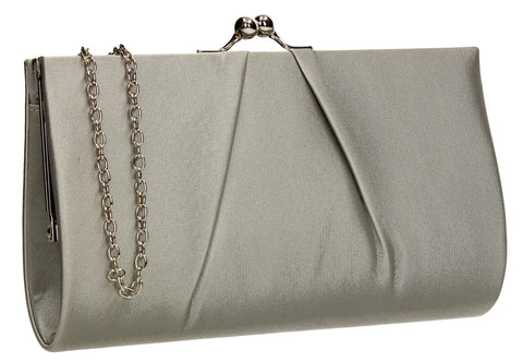 SWANKYSWANS Katy Satin Clutch Bag Silver Cute Cheap Clutch Bag For Weddings School and Work