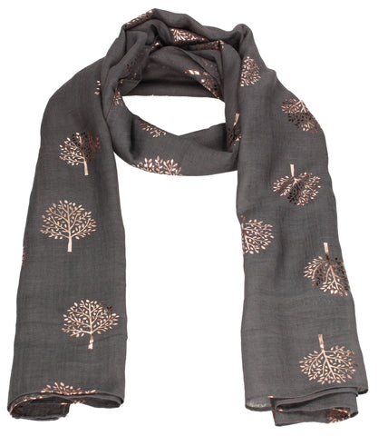 Swanky Swans Mulberry Rose Gold Tree Scarf Charcoal Beautiful school Summer Winter Scarf