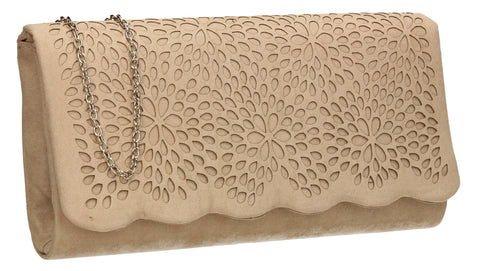 SWANKYSWANS Allison Suede Clutch Bag Beige Cute Cheap Clutch Bag For Weddings School and Work