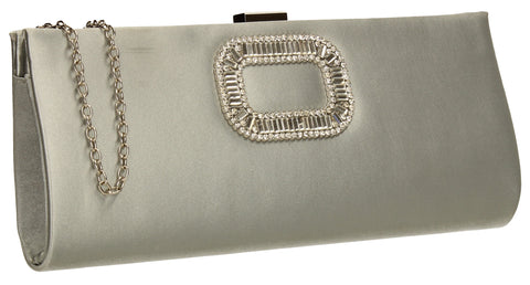 SWANKYSWANS Kerr Satin Clutch Bag Silver Cute Cheap Clutch Bag For Weddings School and Work