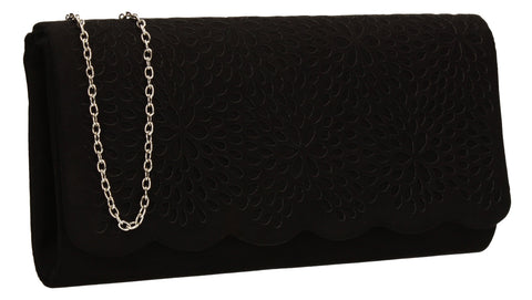 SWANKYSWANS Allison Suede Clutch Bag Black Cute Cheap Clutch Bag For Weddings School and Work