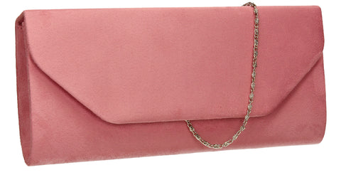 SWANKYSWANS Isabella Velvet Clutch Bag Light Pink Cute Cheap Clutch Bag For Weddings School and Work